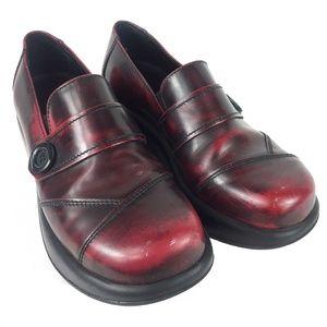 Dansko Oxblood Wine Leather Pro Shoes Button 38